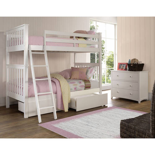 Barrett Twin Over Twin Bunk Bed with Storage Drawers, White Finish