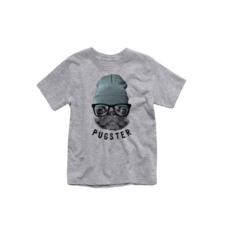 Pugster with Hipster Pug Wearing Beanie-Toddler Short Sleeve Tee