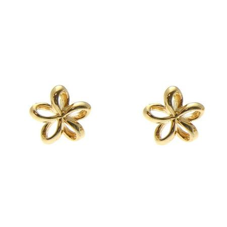 14K solid yellow gold Hawaiian shiny floating 7.5mm plumeria flower earrings ()