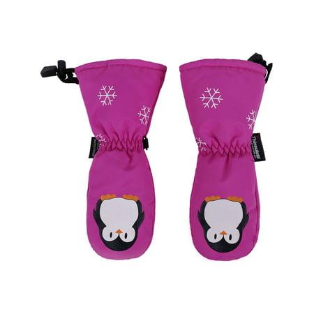 ANDORRA Kids Premium Weather-proof Thinsulate Ski Mittens, Penguin