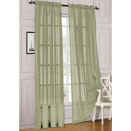 2pc Sage Solid Sheer Voile Window Curtain Set, Two (2) Rod Pocket Panels 55