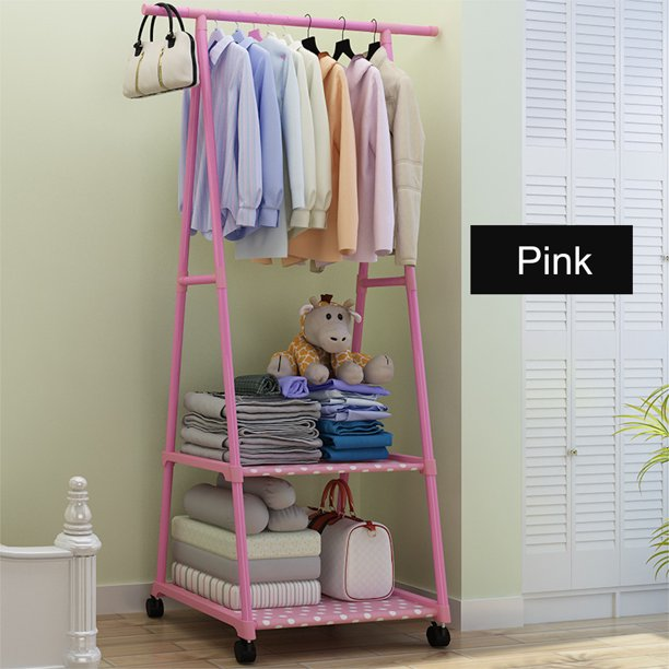 Stainless Steel Clothes Rack on Wheels Rolling Garment Rack with 2