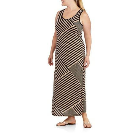 4a67dd77e74671 Faded Glory - Women s Plus-Size Striped Maxi Dress - Walmart.com