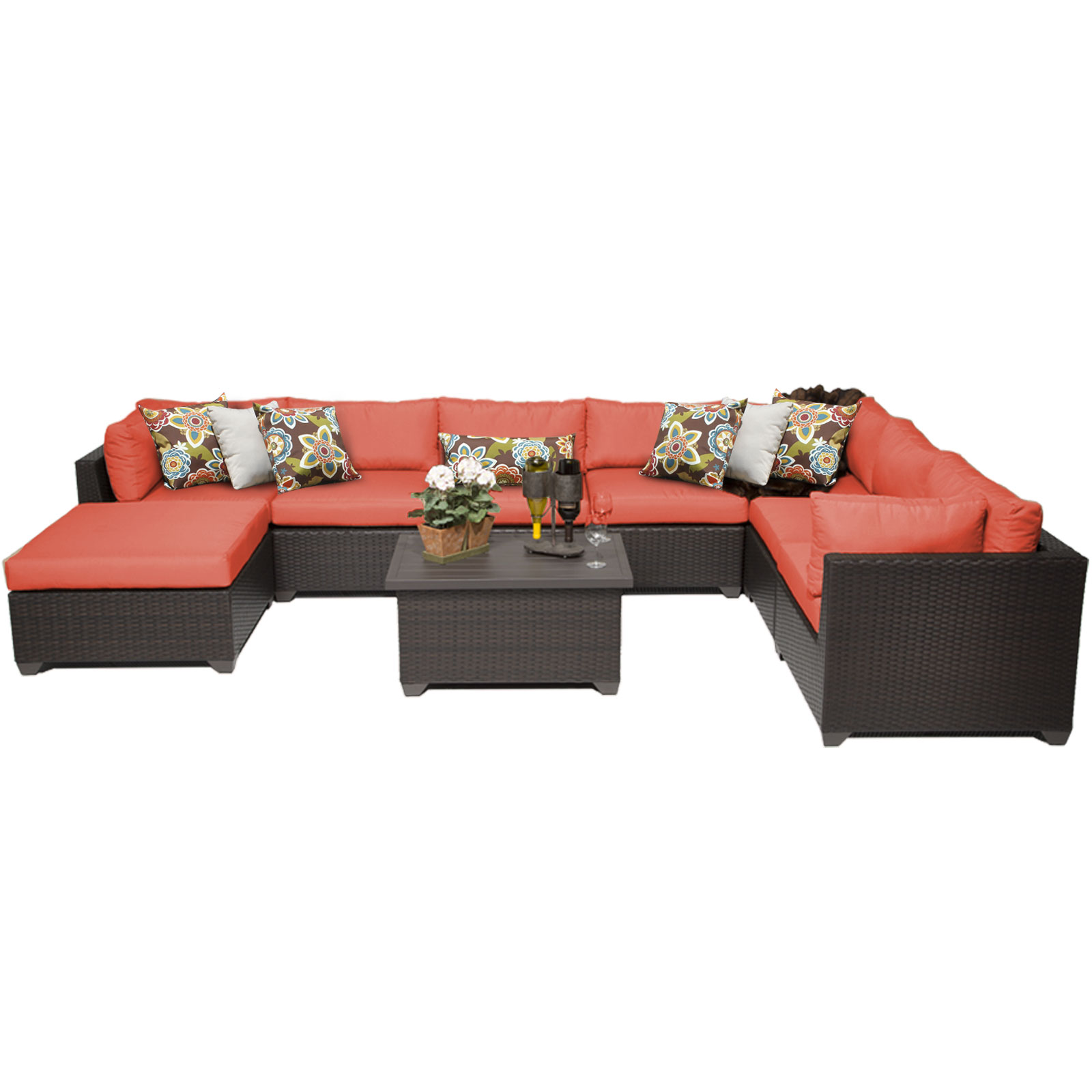Premier 9 Piece Outdoor Wicker Patio Furniture Set 09b