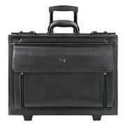 """Solo Classic Leather Rolling Catalog Case, 16"""", 18"""" x 8 1/5"""" x 14"""", Black"""