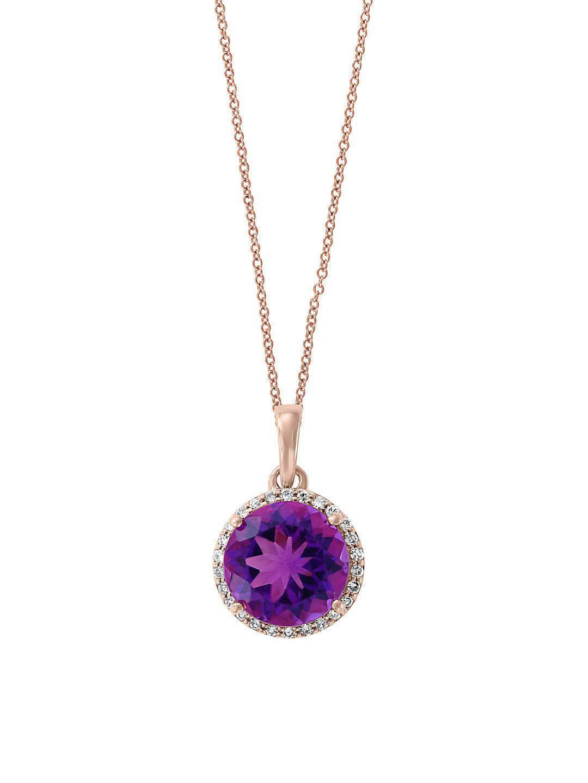 Viola 14K Rose Gold, Amethyst & Diamond Pendant Necklace