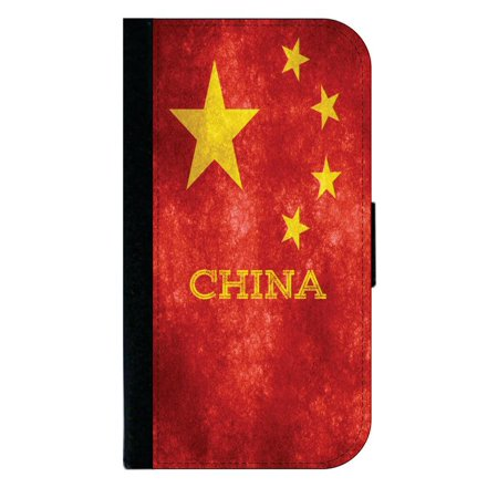 China Grunge Flag Phone Case Compatible with the Samsung Galaxy s9+ / s9 Plus - Wallet Style with Card Slots ()