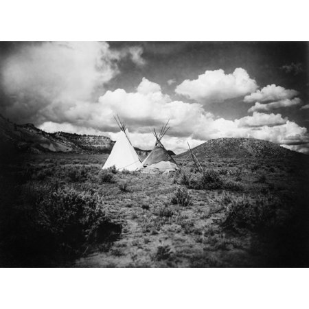 Apache Tepees C1909 Ntwo Apache Tepees In Arizona Photograph C1909 Rolled Canvas Art     18 X 24