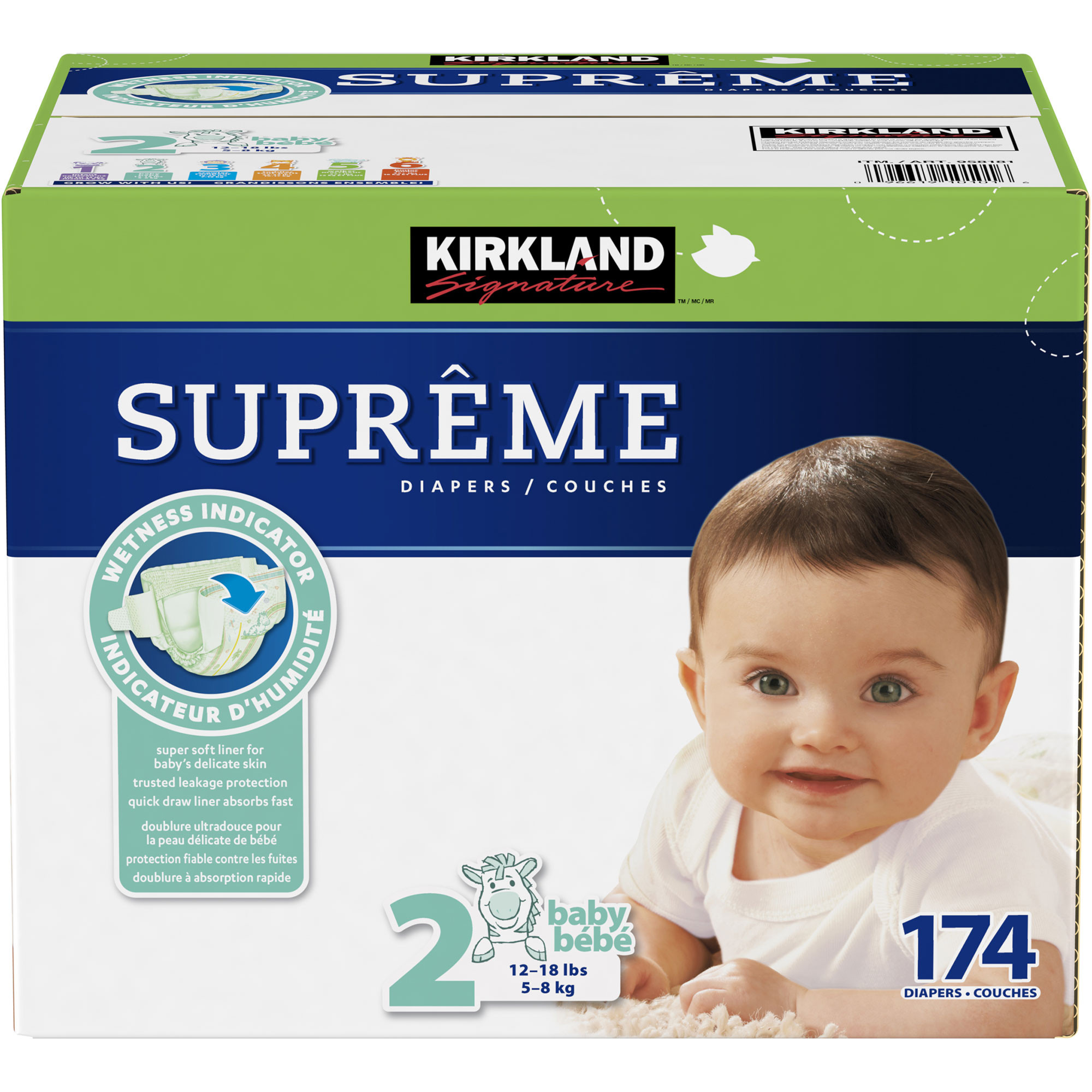 Kirkland Signature Supreme Diapers Size 2; 174-count