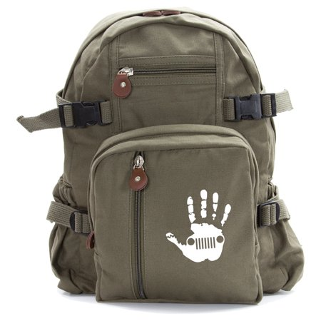 Jeep Wave Hand High Five Army Heavyweight Cotton Canvas Backpack (Best Herschel Backpack For High School)
