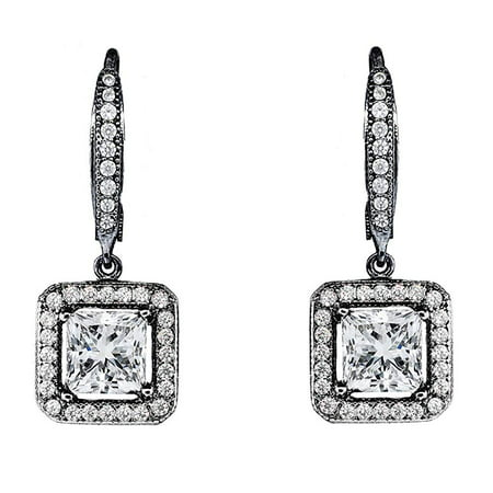 Ivy Faithful 18k Black Rhodium Princess Cut Drop Earrings with Cubic Zirconia Crytals, Women's Gold Plated Earrings, Dangle Earrings for Women, Wedding Anniversary Jewelry - MSRP