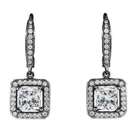 Ivy Faithful 18k Black Rhodium Princess Cut Drop Earrings with Cubic Zirconia Crytals, Women's Gold Plated Earrings, Dangle Earrings for Women, Wedding Anniversary Jewelry - MSRP $150 - Golden Wedding Earrings