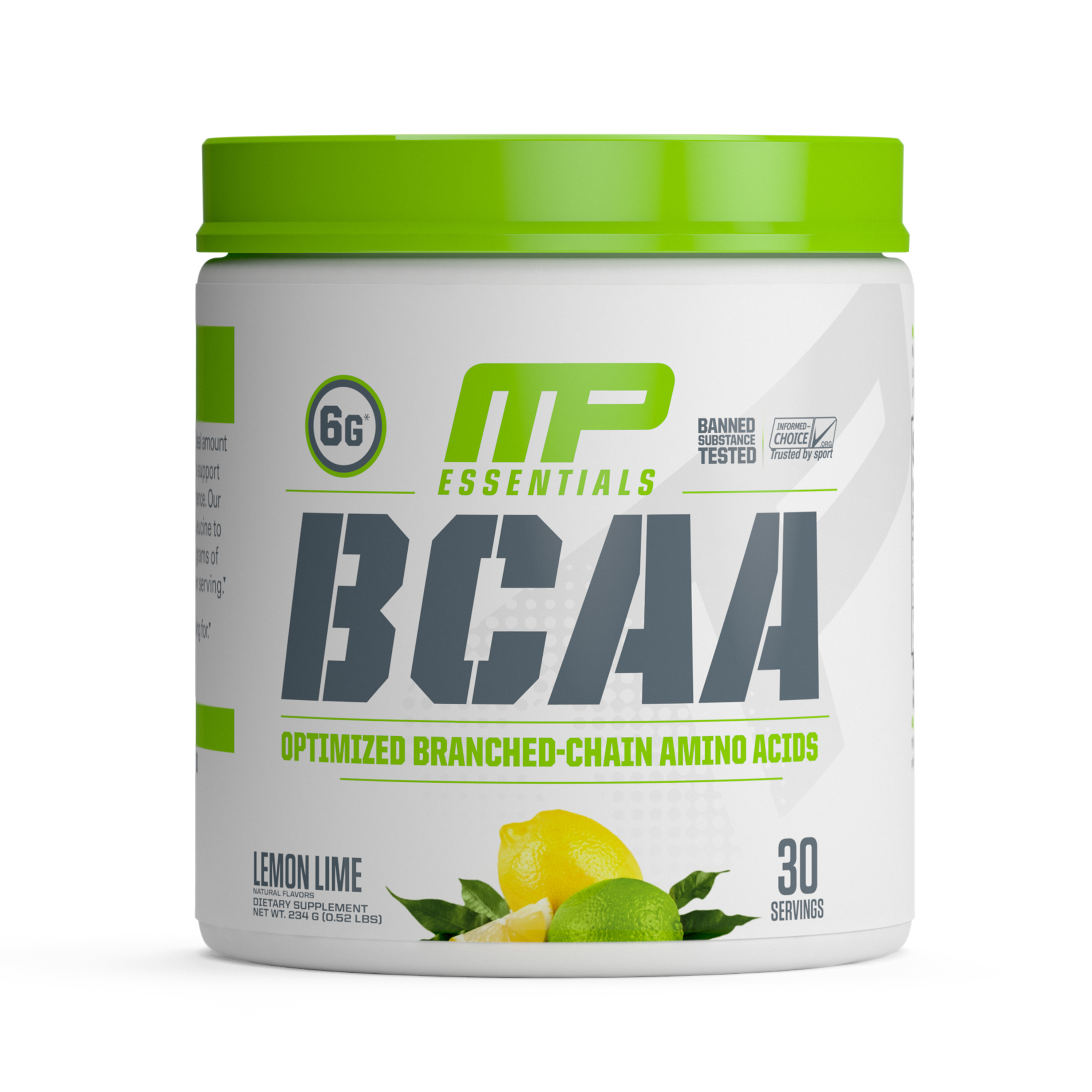 MusclePharm Essentials BCAA 3:1:2 Powder, Lemon Lime, 30 Servings