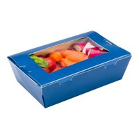 """Café© Vision 21 oz Midnight Blue Paper Small Take Out Container - Hinge Lock - 6 1/4"""" x 4"""" x 1 3/4"""" - 200 count box"""