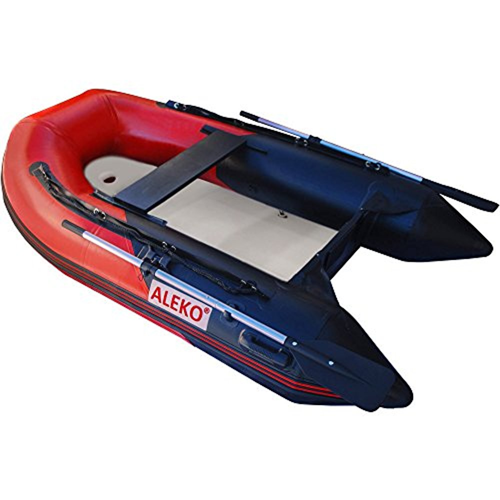 ALEKO Inflatable Air Floor Fishing Boat - 8.4 Foot - Red and Black