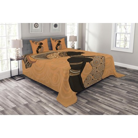 African Woman Bedspread Set, Indigenous People of Africa Theme Local Woman in Traditional Turban and Dress, Decorative Quilted Coverlet Set with Pillow Shams Included, Multicolor, by Ambesonne (African Safari Quilt)