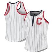 Cleveland Indians New Era Girls Youth Pinstripe Jersey Racerback Tank Top - White/Navy