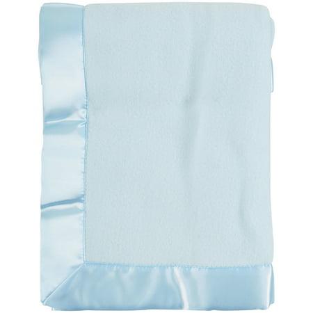 TL Care Fleece Blanket with Satin Trim, Blue, 2