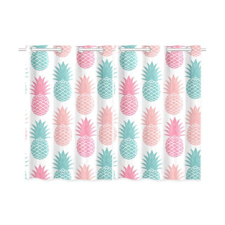 MKHERT Vibrant Pineapple Window Curtains Kitchen Curtain Room Bedroom Drapes Curtains 26x39 inch, 2 - Pineapple Center Piece