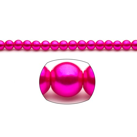 8mm Fuchsia Pink Round Glass Pearl 220-Bead Count