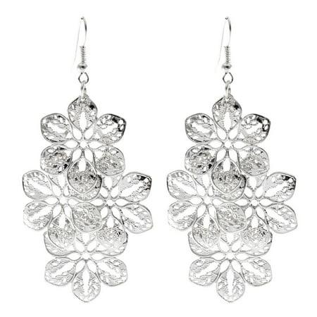 - Unique Bargains Pair Silver Tone Hollow Out Flower Pendant Fish Hook Earrings for Woman