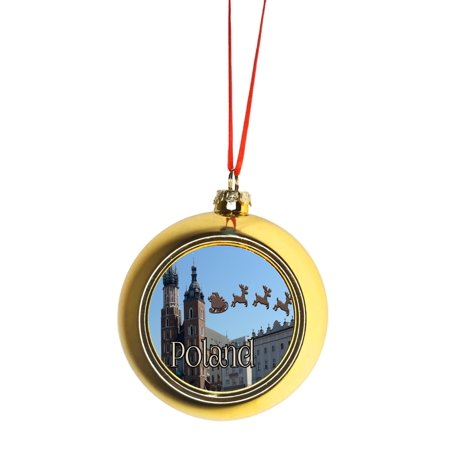 Santa Klaus and Sleigh Riding Over Main Market Square Krakow, Poland Gold Bauble Christmas Ornament Ball ()