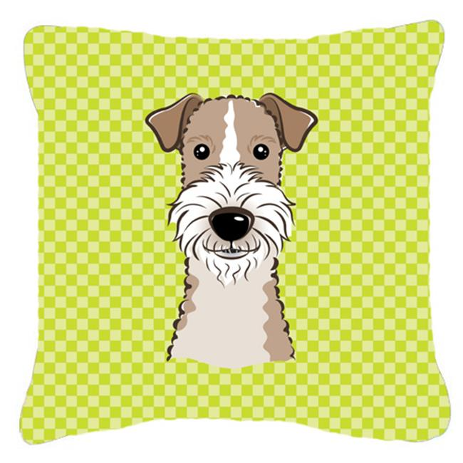Carolines Treasures BB1309PW1818 Checkerboard Lime Green Wire Haired Fox Terrier Fabric Decorative Pillow, 18 x 18 In. - image 1 of 1