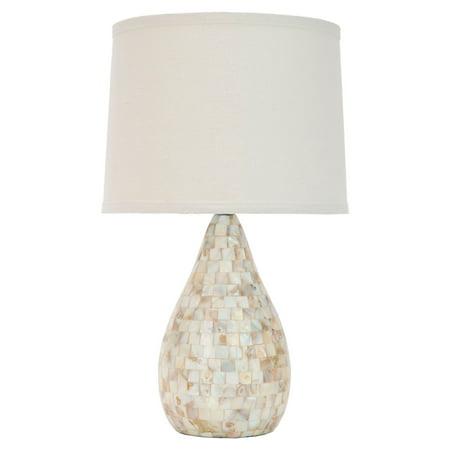Safavieh Lauralie Capiz Shell Lamp with CFL Bulb, Cream with Off-White Shade Decor Set Capiz Shell