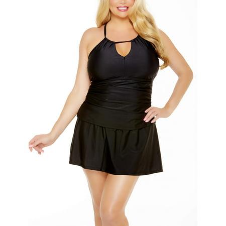 Shirred Tankini Top - Women's Plus-Size Shirred Halter Tankini Swimsuit Top