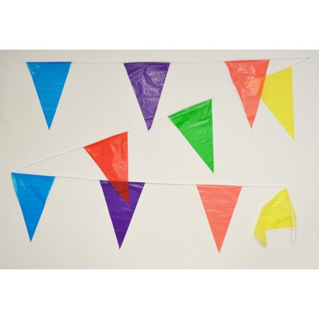 100' Multi Color Pennant Banner Flags Party Decor