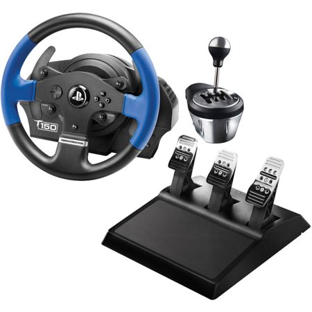 Thrustmaster 4169080 P4/P3/PC T150 RS Racing Wheel, 4060059 TH8A Add-on  Gearbox Shifter and 4060056 T3PA Wide 3-pedal Set