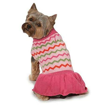 ab6dcf901e Elements Pink Chevron Pattern Knit Sweater Dog Dress Mock Turtleneck Collar  (Large) - Walmart.com