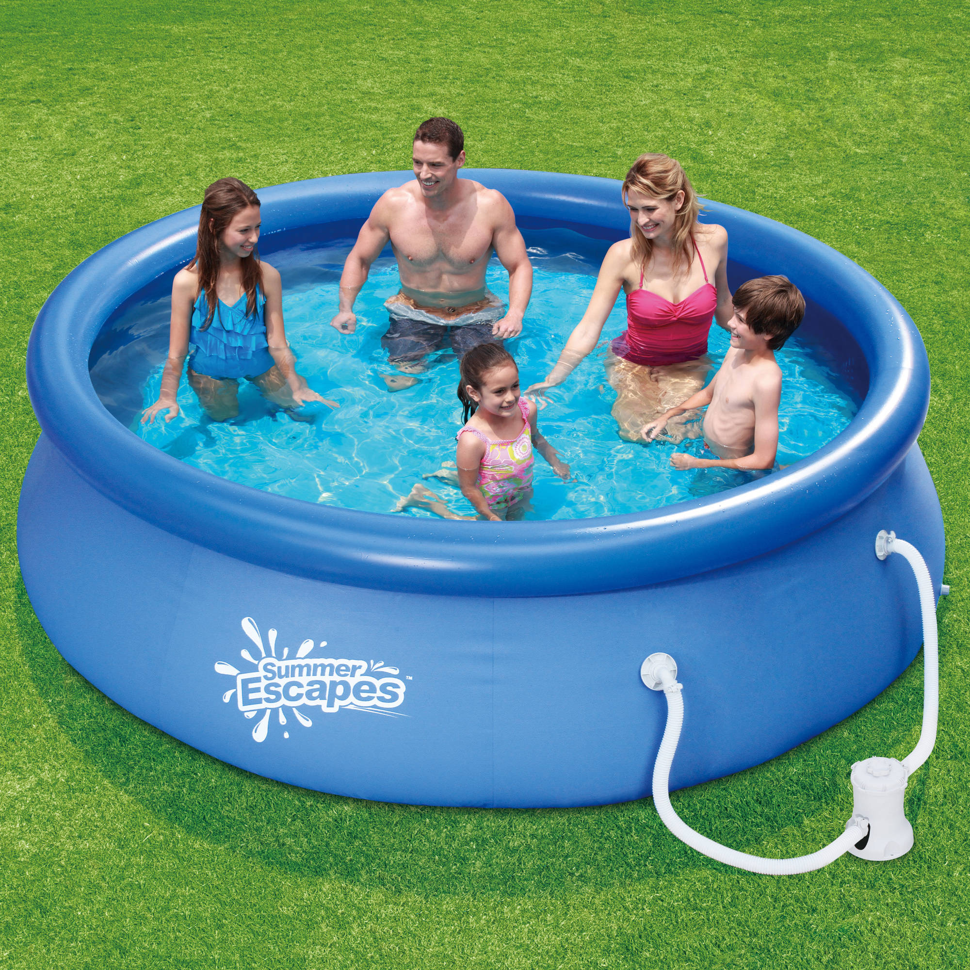 "Summer Escapes 10' x 30"" Quick Set Round Above Ground Swimming Pool with Filter Pump System"