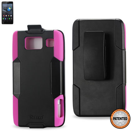 Silicone Case + Protector Cover Motorola Droid Razr Hd Xt926 Black Pink Holster With Clip