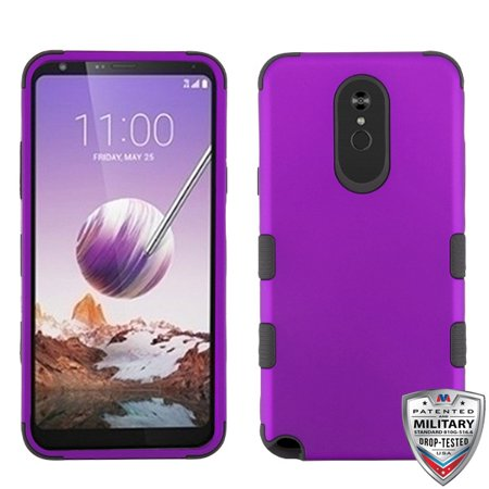 LG Stylo 5 Phone Case 3 in 1 Hybrid Impact Armor Hard PC & Soft TPU Silicone Rubber Heavy Duty Rugged Bumper Shockproof Anti Slip Full Body Protective Hard Cover PURPLE Cover for LG Stylo 5