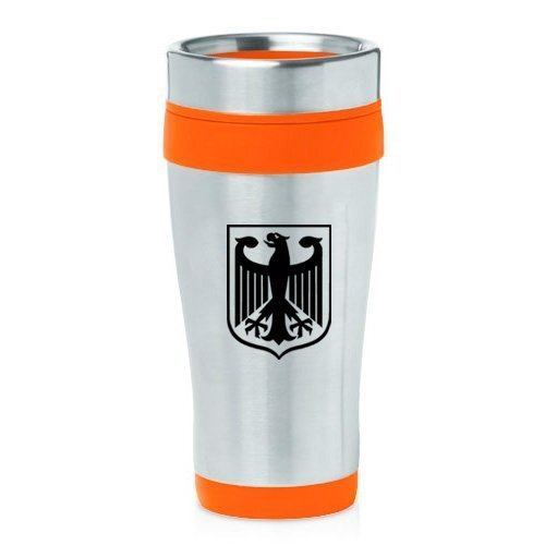 16oz Insulated Stainless Steel Travel Mug Coat of Arms Germany Eagle (Orange),MIP by