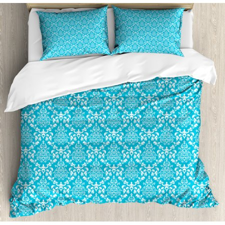 Blue and White King Size Duvet Cover Set, Pattern with Antique Damask Vintage Venetian Curly Leaf Motifs Tile, Decorative 3 Piece Bedding Set with 2 Pillow Shams, Sky Blue and White, by Ambesonne