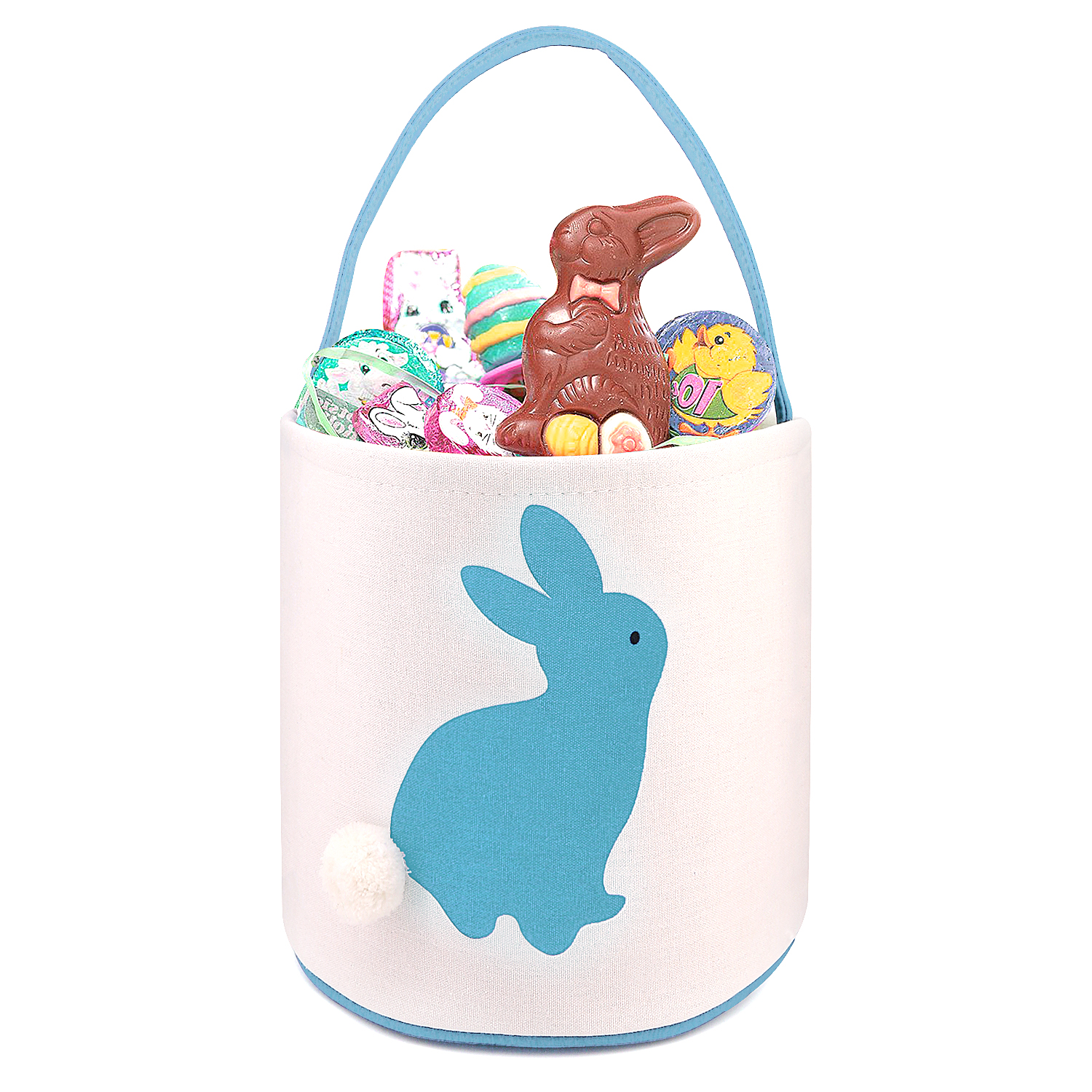 01e6e3d52027 Cylinder Bunny Bag Easter Bag Dual Layer Canvas Bag With Bunny Design  Easter Egg Hunt Basket Carrying Eggs Gifts for Bunny Fans Holding Toys  Books ...