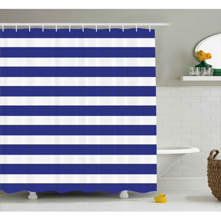 Striped Shower Curtain Nautical Marine Style Lines Sailor Theme Geometric Pattern Art Print Fabric