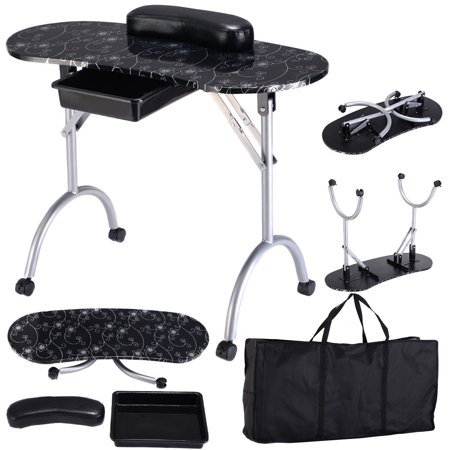 Costway Black Manicure Nail Table Portable Station Desk Spa Beauty Salon