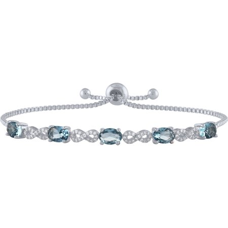 Sterling Silver Plated Simulated Blue Topaz and CZ Infinity Adjustable Bracelet - Blue Glow Bracelets