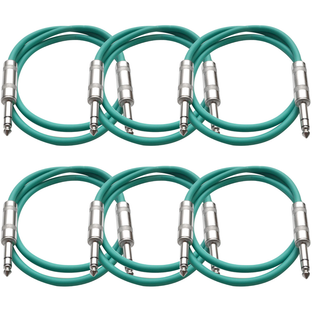"""Seismic Audio  New 6 PACK Green 1/4"""" TRS 2' Patch Cables Green - SATRX-2Green6"""