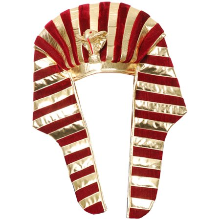 Gold And Burgundy Red Wine King Tut Pharaoh Egyptian Costume Headpiece - Egyptian Headpiece Halloween