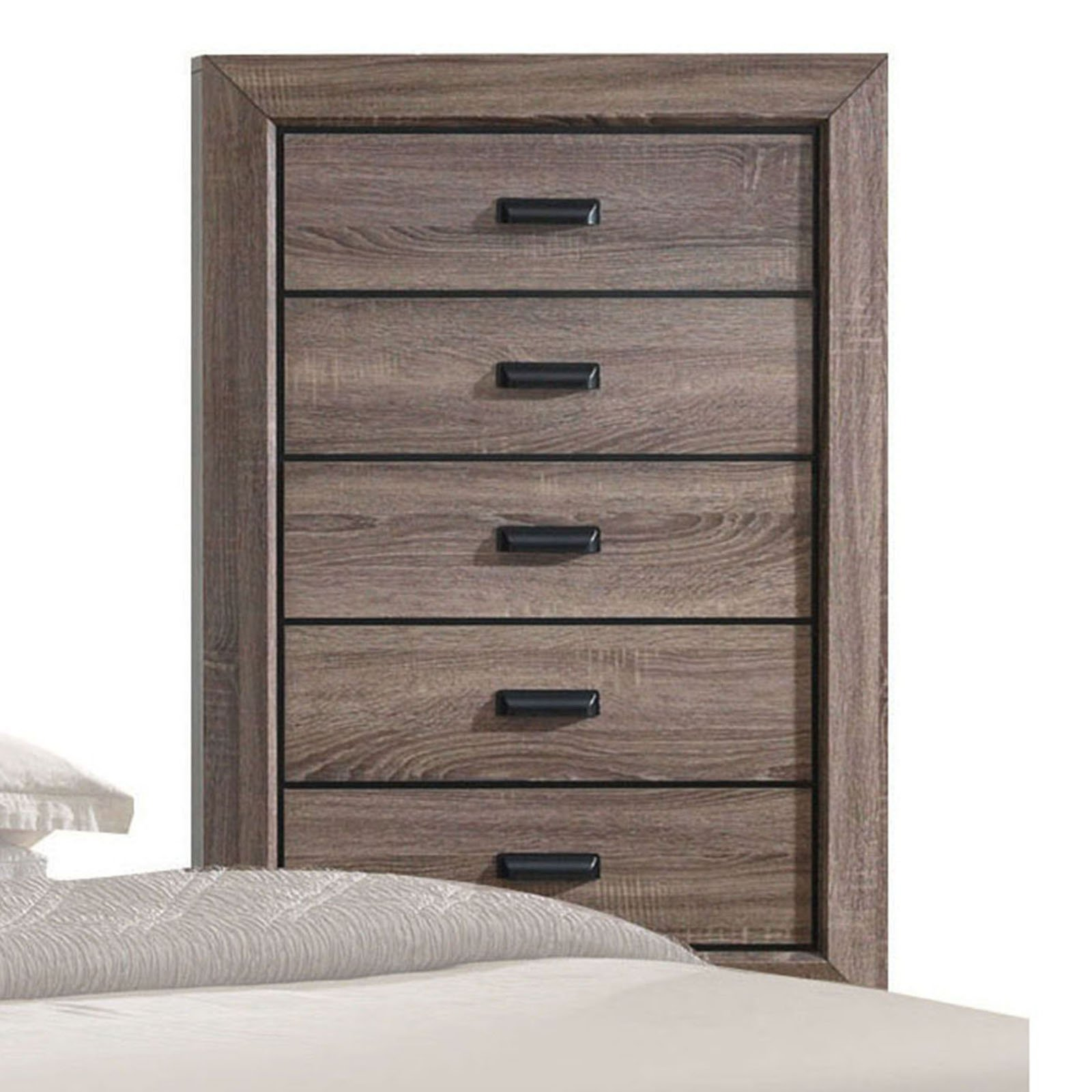 Acme Furniture Lyndon Weathered Grey Grain Chest with Five Drawers
