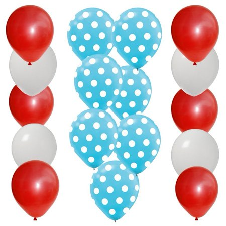 30 pc Dr Seuss Cat in the Hat Party Balloon Kit: 12 Red 12 White 6 Blue w White Dot Latex, 30 pc Dr Seuss Cat in the Hat Party Balloon Kit: 12 Red 12 White.., By PAVILIA (Dr Seuss Party Supplies 1st Birthday)