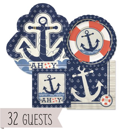 Ahoy Nautical - Party Tableware Plates and Napkins - Bundle for - Napkins For Party