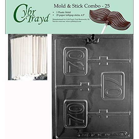 CybrTrayd 45St25-L063 No.70 Square Lolly Chocolate Candy Mold with 25 4.5