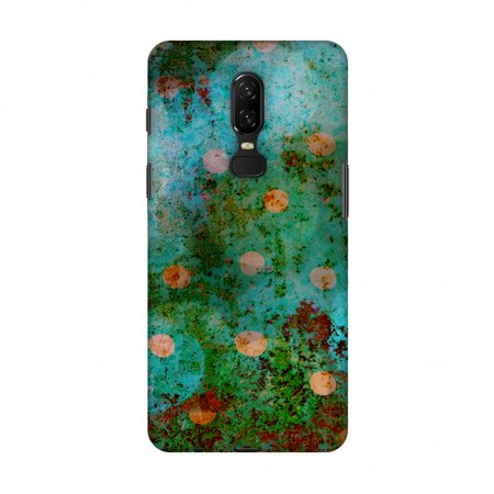 OnePlus 6 Case - Lady Bug - Orange Dots On Green Mold Wood Effect, Hard Plastic Back Cover, Slim Profile Cute Printed Designer Snap on Case with Screen Cleaning (Best Green Screen Effects)
