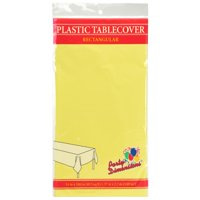 """Yellow  54"""" x 108"""" Rectangular  Plastic Disposable Party  Tablelcoth"""