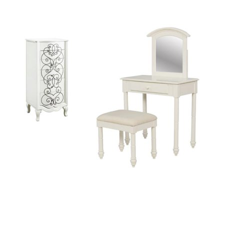 3 Piece Vanity Table And Stool With Jewelry Armoire Walmart Com